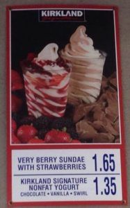 Costco Very Berry Sundae and Nonfat Yogurt Menu Item