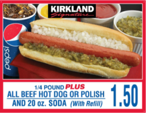 Costco Hot Dog and Soda Menu Item